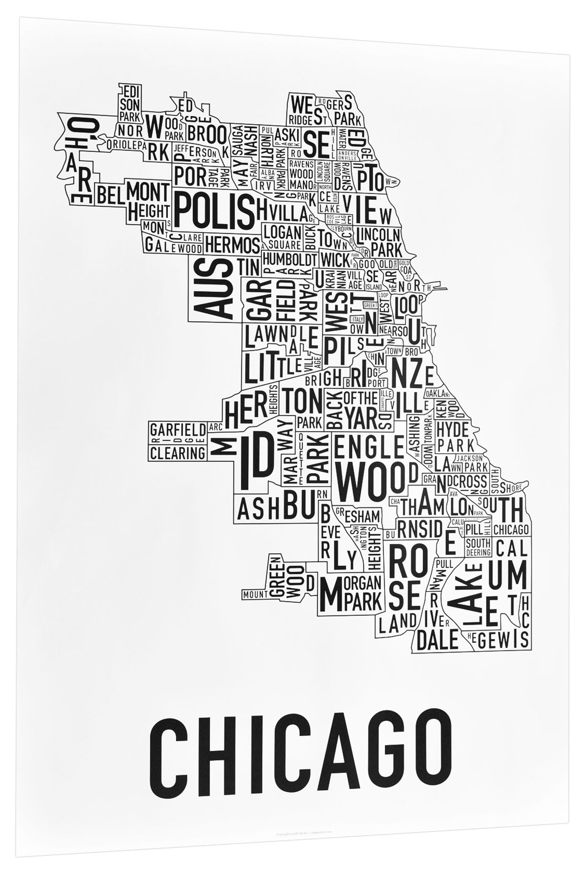 Chicago Map Canvas.Chicago Map Blue Line