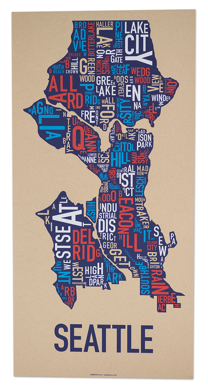 Cool Seattle Map Bnhspinecom - Cool map posters